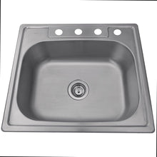 "Load image into Gallery viewer, Nantucket 25"" Small Rectangle Single Bowl Self Rimming Stainless Steel Drop In Kitchen Sink, 18 Gauge - NS2522-8 - Manor House Sinks"