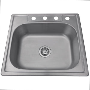 "Nantucket 25"" Small Rectangle Single Bowl Self Rimming Stainless Steel Drop In Kitchen Sink, 18 Gauge - NS2522-8 - Manor House Sinks"