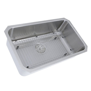 "Nantucket 30"" Large Rectangle Single Bowl Undermount Stainless Steel Kitchen Sink, 11 Inches Deep - NS43-11-16 - Manor House Sinks"