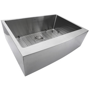 "Nantucket 30"" Pro Series Single Bowl Farmhouse Apron Front Stainless Steel Kitchen Sink - APRON302010-SR-16 - Manor House Sinks"