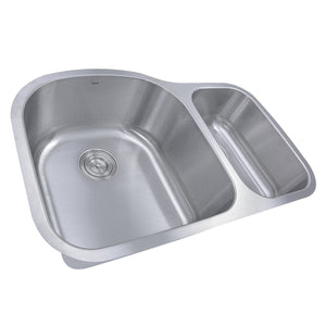 "Nantucket 31.5"" 70/30 Double Bowl Undermount Stainless Steel Kitchen Sink, 16 Gauge - NS3121-16 - Manor House Sinks"
