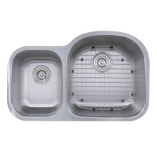 "Load image into Gallery viewer, Nantucket 32.5"" 70/30 Reverse Double Bowl Undermount Stainless Steel Kitchen Sink, 16 Gauge - NS7030-R-16 - Manor House Sinks"