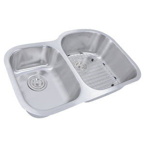 "Nantucket 32.5"" 70/30 Reverse Double Bowl Undermount Stainless Steel Kitchen Sink, 16 Gauge - NS7030-R-16 - Manor House Sinks"
