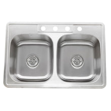 "Load image into Gallery viewer, Nantucket 33"" Double Bowl Equal Self Rimming Stainless Steel Drop In Kitchen Sink, 18 Gauge - NS3322-DE-9 - Manor House Sinks"