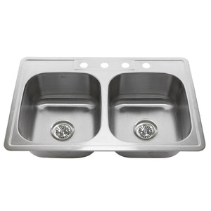 "Nantucket 33"" Double Bowl Equal Self Rimming Stainless Steel Drop In Kitchen Sink, 18 Gauge - NS3322-DE-9 - Manor House Sinks"