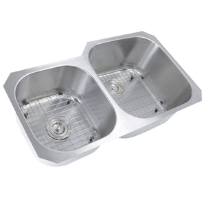 "Nantucket 35"" Double bowl Undermount Stainless Steel Kitchen Sink - NS3520-R-16 - Manor House Sinks"