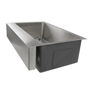 "Nantucket  EZApron33 Patented Design Pro Series Single Bowl Undermount  Stainless Steel Kitchen Sink with 7"" Apron Front - EZApron33 - Manor House Sinks"