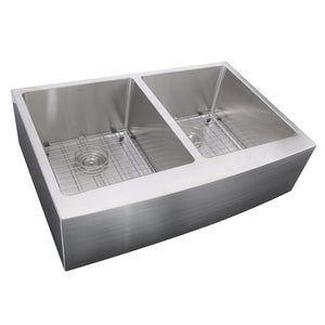 "Nantucket 33"" Double Bowl Farmhouse Apron Front Stainless Steel Kitchen Sink - APRON332210-DBL-SR - Manor House Sinks"