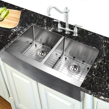 "Load image into Gallery viewer, Nantucket 33"" Double Bowl Farmhouse Apron Front Stainless Steel Kitchen Sink - APRON332210-DBL-SR - Manor House Sinks"