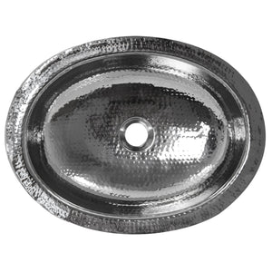 Nantucket Hand Hammered Stainless Steel Oval Undermount Bathroom Sink - OVS - Manor House Sinks
