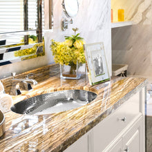 Load image into Gallery viewer, Nantucket Hand Hammered Stainless Steel Oval Undermount Bathroom Sink - OVS - Manor House Sinks