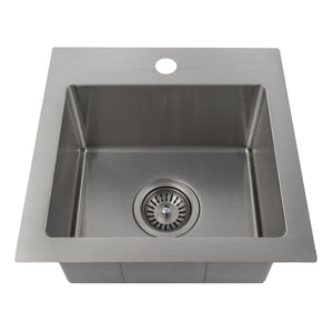 "ZLINE Donner 15"" Topmount Single Bowl Bar Sink in Stainless Steel (STS-15)"