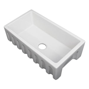 ZLINE Venice Farmhouse Reversible Fireclay Sink in White Gloss (FRC5119-WH-30)