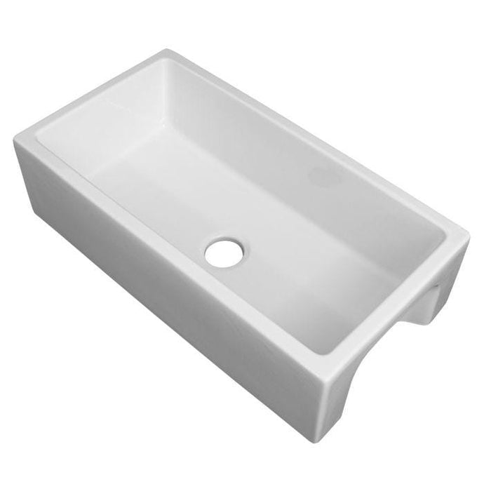 ZLINE Venice Farmhouse Reversible Fireclay Sink in White Gloss (FRC5122-WH-36)