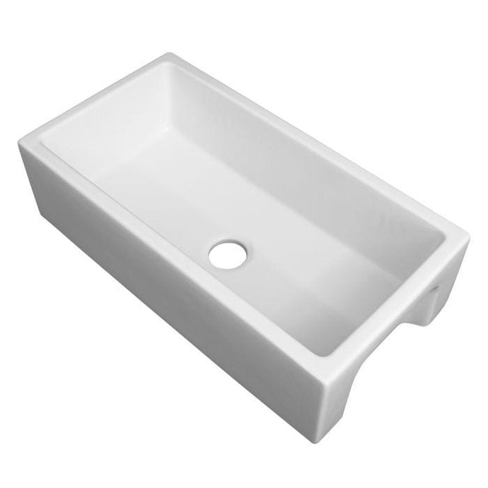 ZLINE Venice Farmhouse Reversible Fireclay Sink in White Matte (FRC5122-WM-36)
