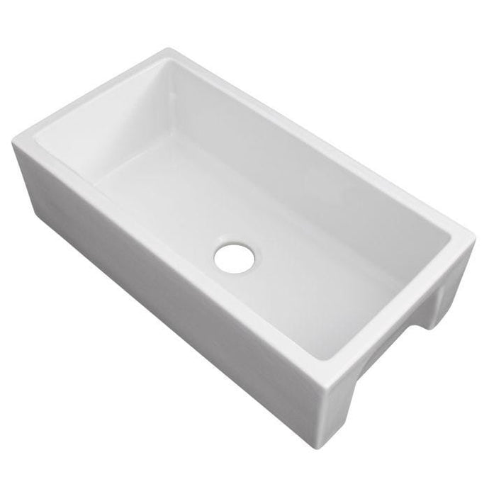 ZLINE Venice Farmhouse Reversible Fireclay Sink in White Gloss (FRC5131-WH-33)