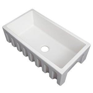 ZLINE Venice Farmhouse Reversible Fireclay Sink in White Matte (FRC5131-WM-33)