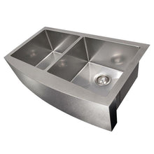 "Load image into Gallery viewer, ZLINE Niseko Farmhouse 36"" Undermount Double Bowl Sink in DuraSnow® Stainless Steel (SA50D-36S)"