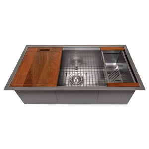 "ZLINE Garmisch 33"" Undermount Single Bowl Sink in DuraSnow® Stainless Steel with Accessories (SLS-33S)"