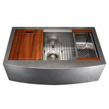 "Load image into Gallery viewer, ZLINE Moritz Farmhouse 33"" Undermount Single Bowl Sink in DuraSnow® Stainless Steel with Accessories (SLSAP-33S)"