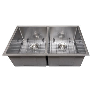 "ZLINE Anton 33"" Undermount Double Bowl Sink in DuraSnow® Stainless Steel (SR50D-33S)"