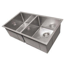 "Load image into Gallery viewer, ZLINE Anton 33"" Undermount Double Bowl Sink in DuraSnow® Stainless Steel (SR50D-33S)"