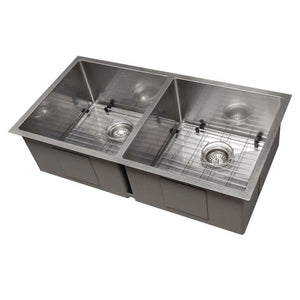 "ZLINE Anton 36"" Undermount Double Bowl Sink in DuraSnow® Stainless Steel (SR50D-36S)"