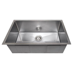 "ZLINE Meribel 30"" Undermount Single Bowl Sink in DuraSnow® Stainless Steel (SRS-30S)"