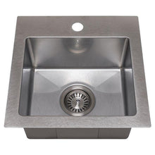 "Load image into Gallery viewer, ZLINE Donner 15"" Topmount Single Bowl Bar Sink in DuraSnow® Stainless Steel (STS-15S)"