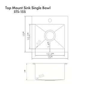 "ZLINE Donner 15"" Topmount Single Bowl Bar Sink in DuraSnow® Stainless Steel (STS-15S)"