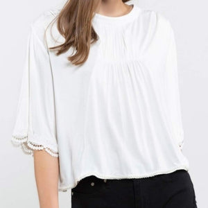 White Flowing Lace & Bead DetailTop