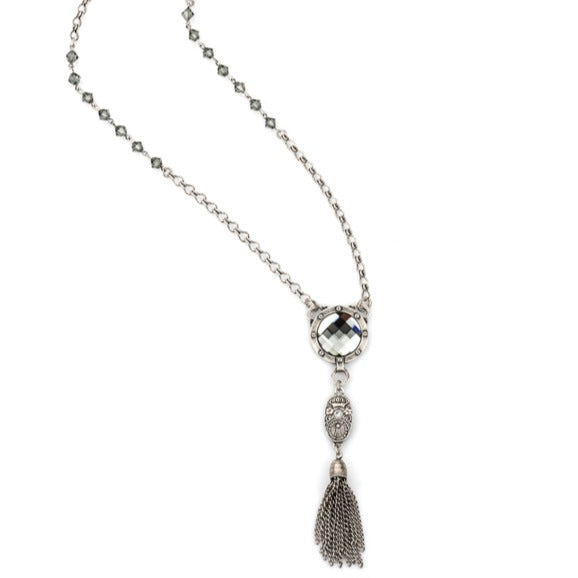 Black Diamond Swarovski Pendant And Tassel