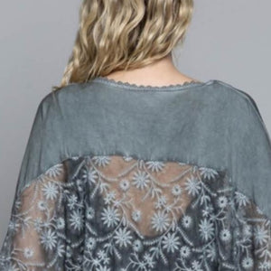 GREY EMBROIDERY SHAWL