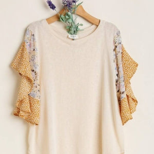 Gold Floral Sleeve Top