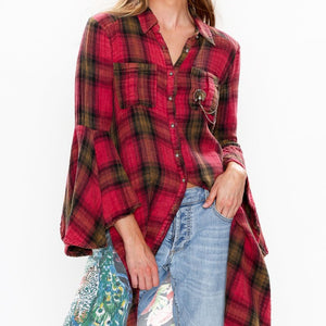 Dress/Shirt Dark Fuschia Plaid