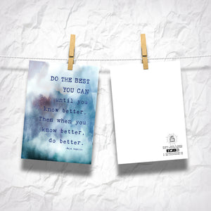 "Do The BEST You Can Maya Angelou Quote 5"" x 7"" Oversized Postcards with Kraft Envelopes"