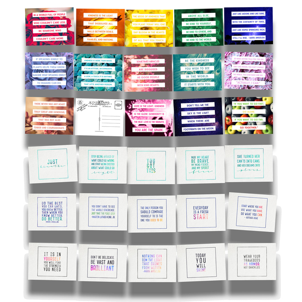 True Colors Series and Encourage Inspire Empower Emerge Postcard Bundle Collections
