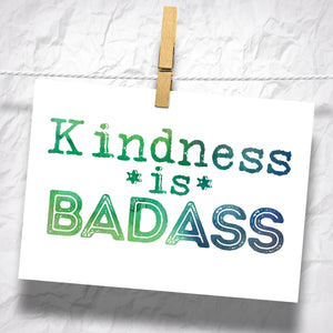 "Kindness is Badass 5"" x 7"" Oversized Postcard with Kraft Envelopes"