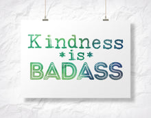 "Load image into Gallery viewer, Kindness is Badass 5"" x 7"" Oversized Postcard with Kraft Envelopes"