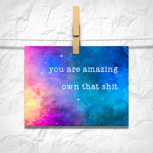You Are Amazing, Own That S*** Postcard Empowering and Encouraging