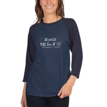 Load image into Gallery viewer, Peace Love Light 3/4 Sleeve Raglan Shirt - White Text