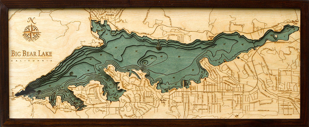Big Bear Lake California Nautical Wood Chart Wood