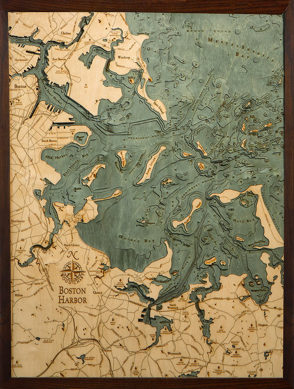 Boston Harbor, Massachusetts Wood Map