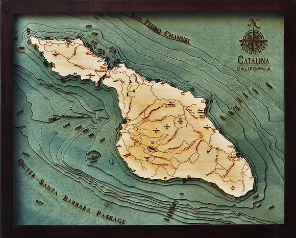 Wooden Chart | Catalina Island | California
