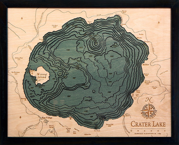 Crater Lake | Oregon | Wood Chart