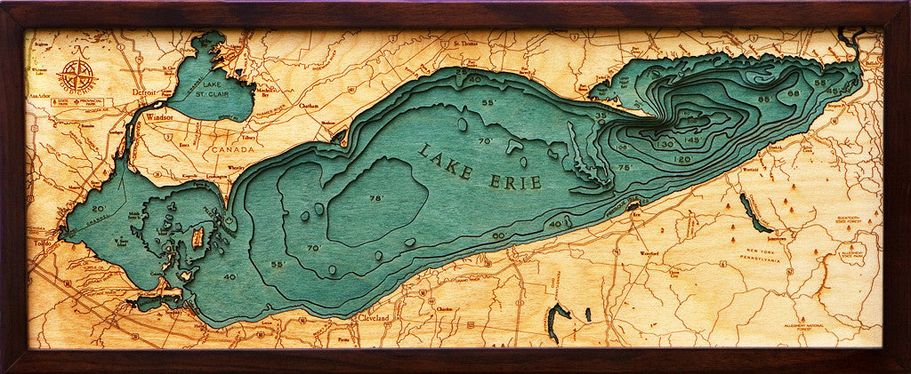 Lake Erie Mi Ny Pa Oh Canada Nautical Wooden Chart
