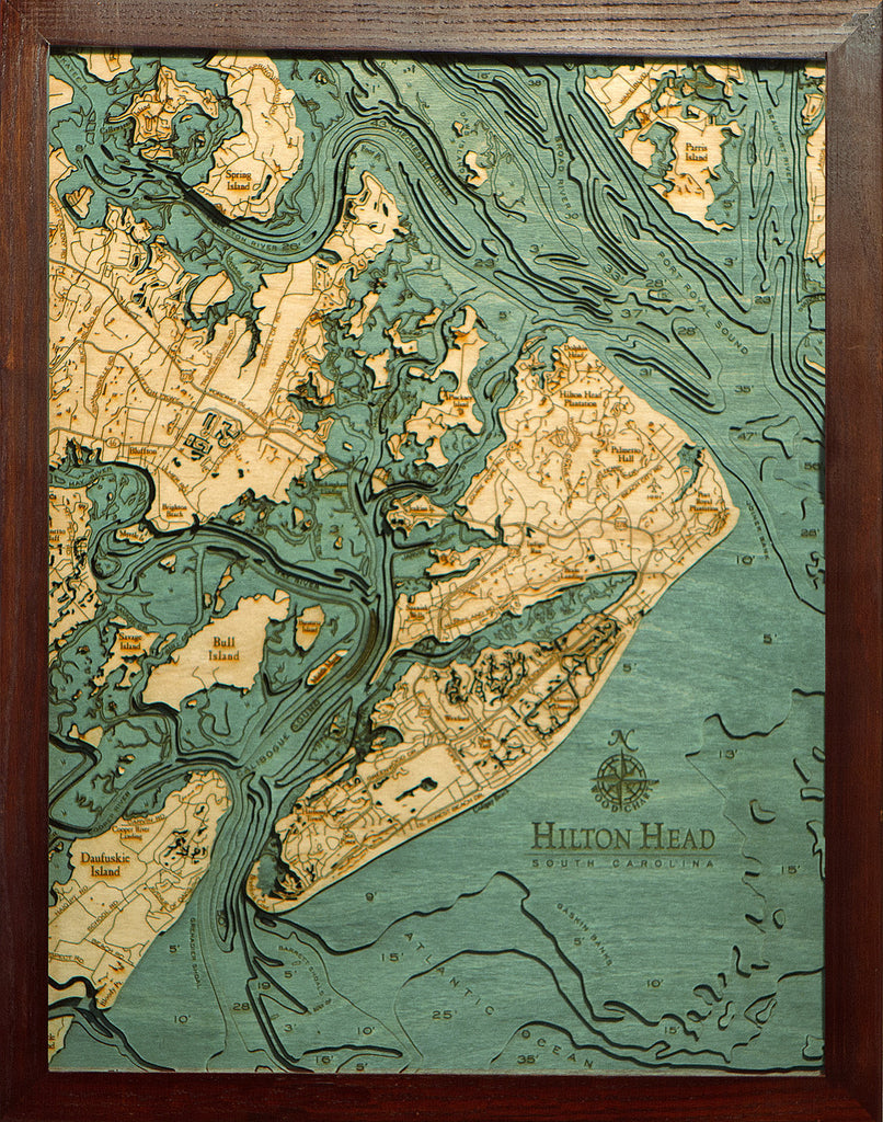 Hilton Head South Carolina Wood Chart Wooden Map