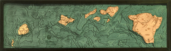 Hawaiian Islands | Wood Chart | Wood Map