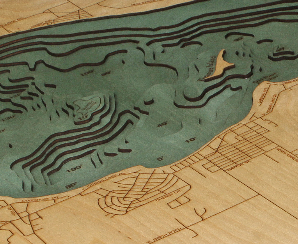 Higgins Lake Michigan Nautical Wooden Chart Wooden