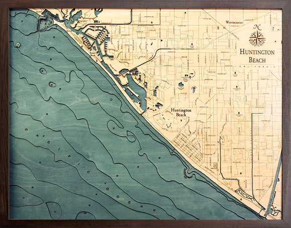 Huntington Beach | California | Wood Map